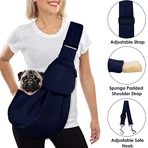 AutoWT Dog Padded Papoose Sling, Small Pet Sling Carrier Hands Free Carry Adjustable Shoulder Strap Reversible Outdoor Tote Bag with a Pocket Safety Belt Dog Cat Carrying Traveling Subway (Blue) ()