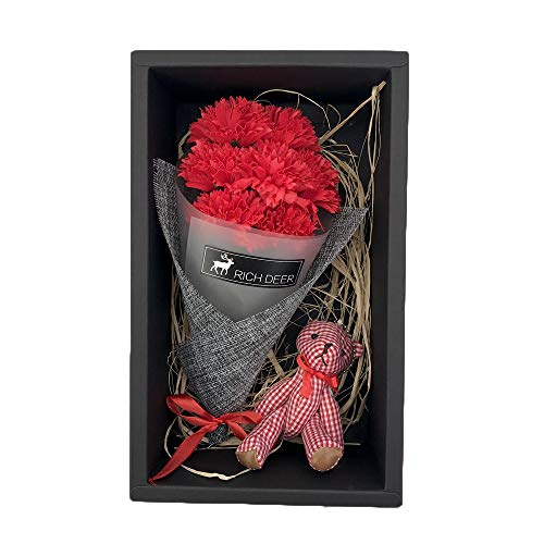 Yourbabe Flower Red Scented Rose Soft Plush Teddy Bear Bouquet with Gift Box,Women Girls Anniversary Birthday Mother's Day Valentine's Gifts - Best,Perfect & Unique Gift Ideas for -