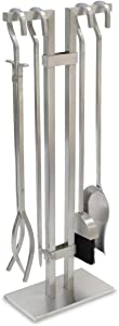 """Pilgrim Home and Hearth Sinclair Fireplace Tool Set, 29"""" Tall, Brushed Stainless Steel"""