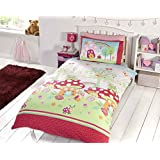 KIDS TWIN MUSHROOM TREE FROG GREEN RED PINK COTTON BLEND COMFORTER COVER SET