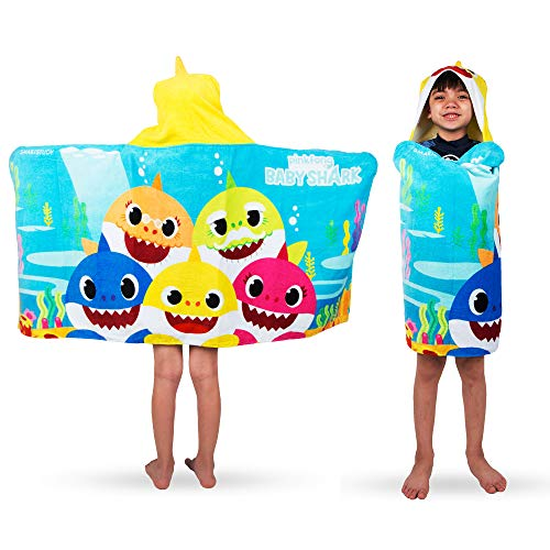 Franco Kids Bath and Beach Soft Cotton Terry Hooded Towel Wrap, 24″ x 50″, Baby Shark