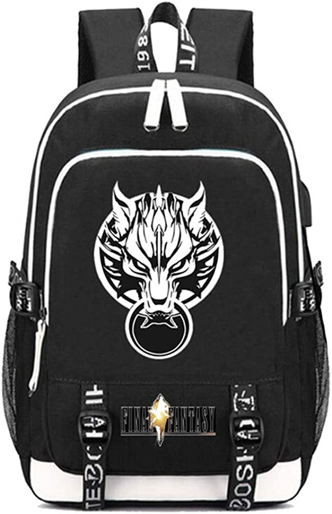 Gumstyle Final Fantasy Game Multifunction Schoolbag Travel Bag Laptop Backpack with USB Charging Port and Headphone Jack