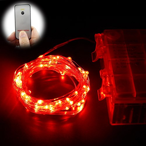ER CHEN Remote Battery Operated Led String Lights 33ft 100 LED Silver Wire 8 Lighting Mode Waterproof Starry Light with Wireless Handheld Remote Control(Red)