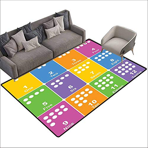 """Floor Mats Modern Kitchen Rug Kids Activity,Learning The Numbers Themed Educational Design Colorful Preschool Pattern,Multicolor 80""""x 120"""",Area Rugs from DayOn Rugs"""