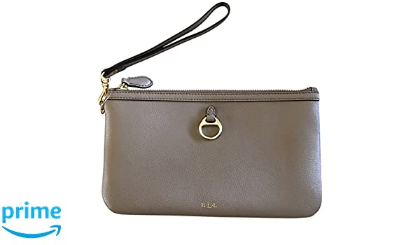 46f2335b76 Lauren Ralph Lauren Soft Genuine Leather Allenville Wristlet Clutch Taupe:  Handbags: Amazon.com
