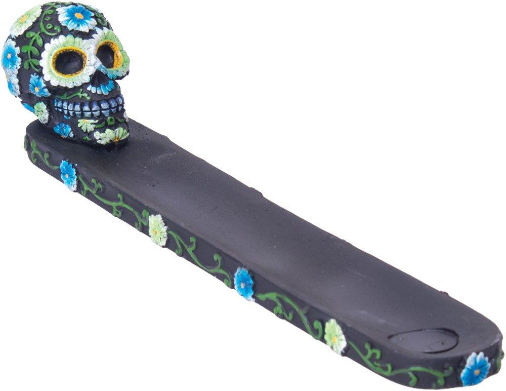 Flower Sugar Skull Incense Burner - Black/Blue/Green 9.5''