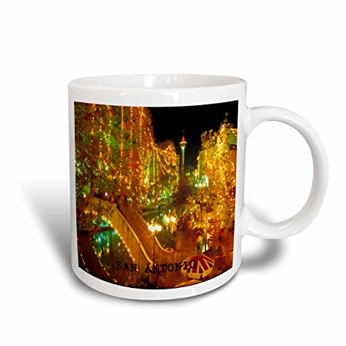 3dRose Beautiful San Antonio Riverwalk at Night Ceramic Mug, - Riverwalk Outlet