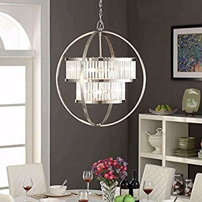 Brushed Nickel Chandelier Centerpiece Emits Modern Contemporary Elegance. This Orb Ceiling Lamp Is Versatile And Suitable For Dining Rooms, Entryways, Bedrooms and More./ 6 Light Crystal Light Fixture