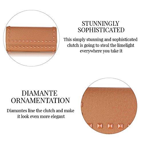 TrendStar Damen Designer Nieten Design Promi-Stil Schöne Clutch Handtasche Burgund