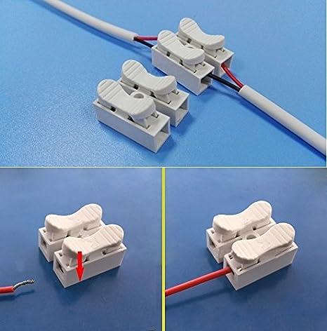 Luces del enchufe, 100 PCS 2 Empuje manera rápida Cable conector de terminales de cableado Terminal 2A 220V: Amazon.es: Hogar