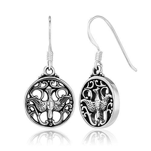 Tribe Silver 30mm - 925 Sterling Silver Open Thunderbird Native American Symbol Motif Design Dangle Earrings, 30 mm