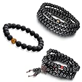 Aroncent 3 PCS 8mm Sandal Wood Agate Beads Buddhist Bracelet Buddha Mala Religious Prayer Tiger Eye Bead
