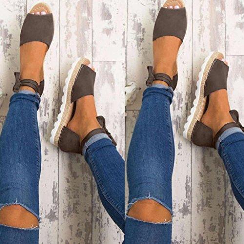 Damen schnüren sich flache Boden atmungsaktive Sandalen, Kaiki Espadrilles Sommer Chunky Urlaub Sandalen Gray