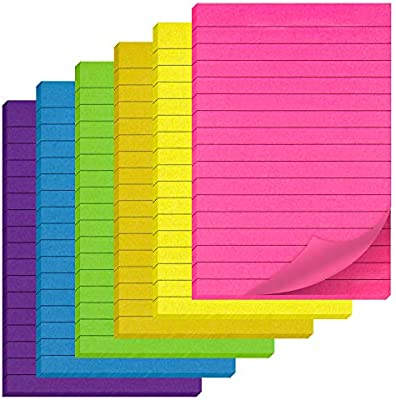 High Quality Folder Pack of Neon Sticky Notes 6 Vary Sizes /& Colours