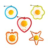 Easyinsmile Silicone Fried Egg Mold Silicone Egg Ring Pancake Mold, Round Egg Rings Mold,Creative Cartoon Nonstick Egg Shaper Set 5 Piece per Pack(Random Color)