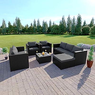Abreo Rattan 7 Seater Garden Corner Sofa Furniture Set