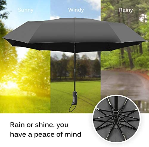 Travel Umbrella Windproof-Pure Green Pattern,Durable Folding Compact Umbrella for Outdoor Rainy Use Auto Open and Close Button