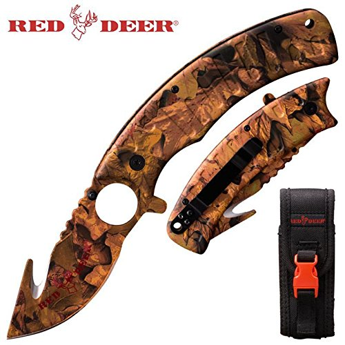 Red Deer 9 Inch Big Game Hunter Skinning Folding Knife with Finger Grip Blade