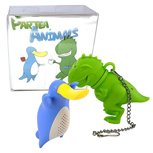 SILLYCONE ParTea Animals 2 Pack Bundle Tea-Rex and Plateapus Silicone Tea Infuser Animals