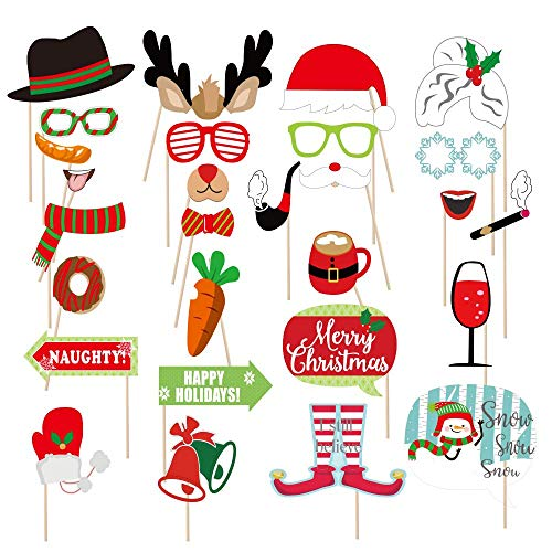 Christmas Photo Booth Props NO DIY, Beyondtrade 28 Pcs Kits Funny Xmas Selfie Props Accessories for Adults Kids for Christmas Theme Party Favors Decorations Decor Supplies (Xmas Funny Photos)
