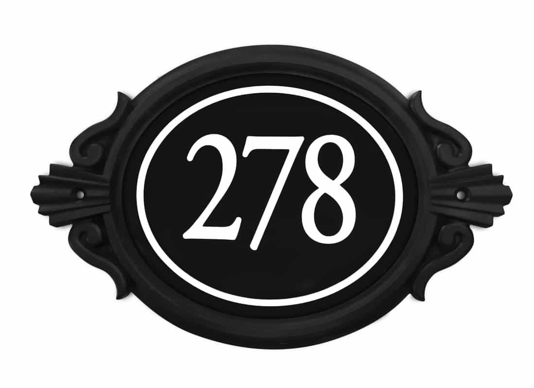 Sight Lights Customized Engraved Address Signs, Black Frame, Black Background - White House Numbers, Roman Frame Style, Numbers with Ring