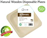 """Disposable Wooden Plates All Natural Eco-Friendly Compostable and Biodegradable Elegant Appetizer/ Dessert Plates. Great for Parties, Weddings & Catering, 5.5"""" x 5.5"""" -50pc Party Plates, GO GREEN!"""