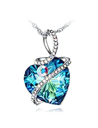 Necklace Women, Fairy Season Mystery Heart Pendant Jewelry with Blue Crystals from Swarovski Gift Box