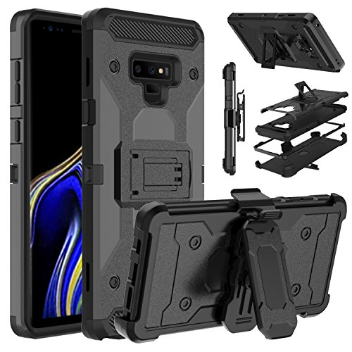 Galaxy Note 9 Case, Venoro Heavy Duty Armor Shockproof Rugged Protection Case Cover with Belt Swivel Clip and Kickstand for Samsung Galaxy Note 9 / SM-N960U (Black)