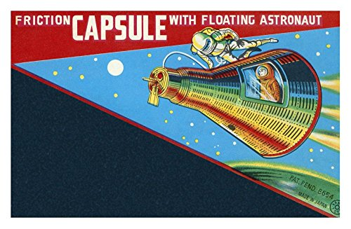 (Global Gallery DP-375940-30 Retrorocket Friction Capsule with Floating Astronaut Unframed Giclee on Paper Print, 18 7/8