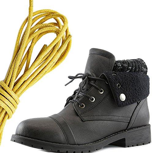Dailyshoes Womens Boot Style Lace Up Maglione Stivaletto Alla Caviglia Con Taschino Per Porta Carte Di Credito Tasca Porta Soldi, Giallo Nero Pu