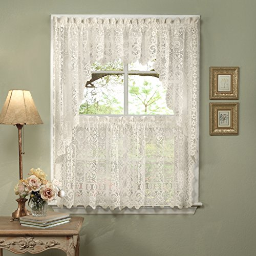 (Sweet Home Collection 5 Pc Kitchen Curtain Set, Swag Pair, Valance, Choice of 24