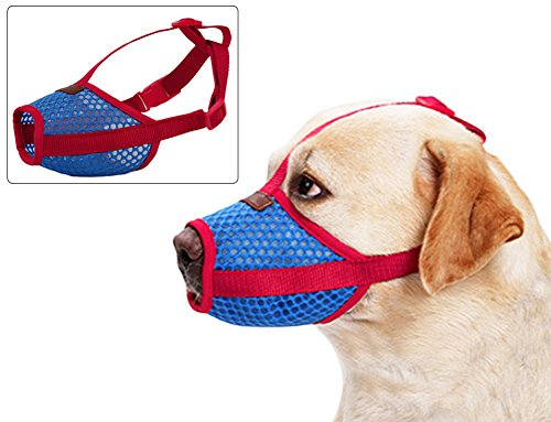 Short Snout Dog Muzzle Pet with Adjustable Breathable Mesh Buckle-Anti Bark Bite Dog Mouth Mask - Red - XL