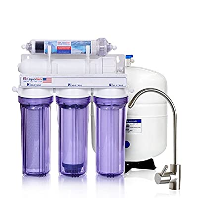 LiquaGen - 6 Stage Home Under-Sink Mineral Restoration pH Inline Carbon/Alkaline Reverse Osmosis (RO) Water Filter System