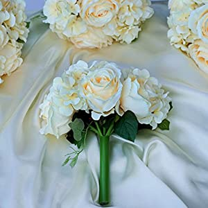 BalsaCircle 4 Silk Roses and Hydrangea Bouquets - Artificial Flowers Wedding Party Centerpieces Arrangements Supplies 108