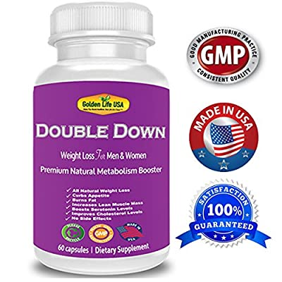 Double Down Extra Strength Weight Loss Diet Pills – All Natural Appetite Suppressant, Fat Burner & Metabolism Booster with Caffeine Anhydrous , Green Tea Extract, Garcinia Cambogia,