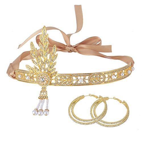 [Santfe 1920's Great Gatsby Vintage Style Pearl Crown Tiara Charleston Bridal Headband Headpiece + Earring] (1920s Costumes Jewelry)