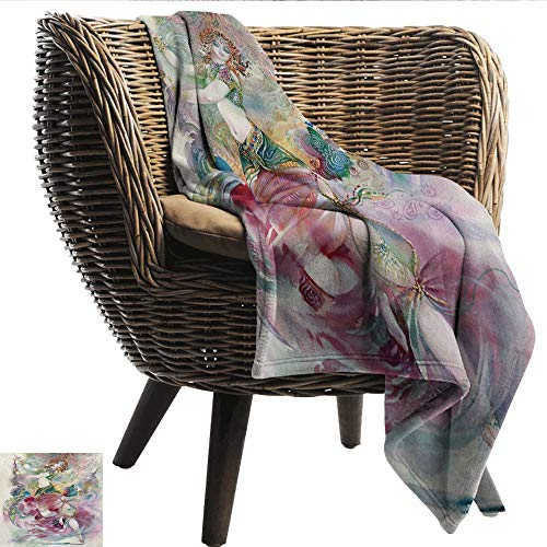 EwaskyOnline Watercolor Travel Blanket Oriental Dance Theme Young Girl Performing in Traditional Costume Fantasy Figure Recliner Throw,Couch Throw, Couch wrap 93