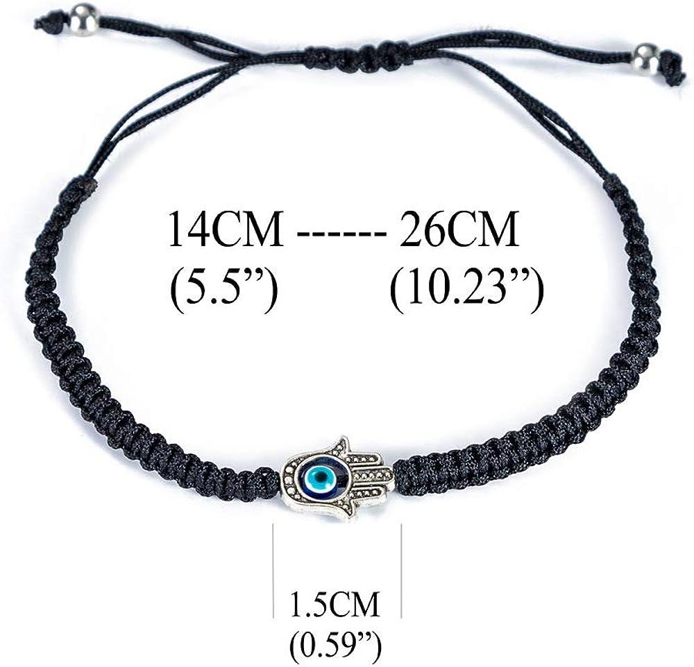 6pcs-Balck Hand 6pcs Evil Eye Hamsa Hand String Kabbalah Bracelets for Protection and Luck Hand-Woven Black Cord Thread Friendship Bracelet Anklet