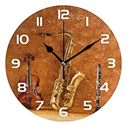 Dozili Music Violin Saxophone Clarinet Decorative Wooden Round Wall Clock Arabic Numerals Design Non Ticking Wall Clock Large for Bedrooms, Living Room, Bathroom