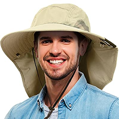 Tirrinia Mens Wide Brim Sun Hat with Neck Flap Fishing Safari Cap for Outdoor Hiking Camping Gardening Lawn Field Work from Tirrinia