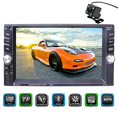 CARED 6.6 inch touch screen Car stereo MP5 player,universal Double Din,Bluetooth Car audio receiver,Steering Wheel Control,Rear View Camera,MP3 USB/SD/AUX in,DVR input,wireless Remote (Wireless Usb Dvr)