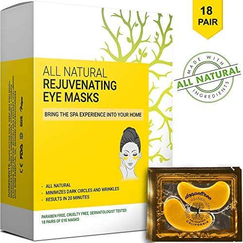 (18 Pairs) All Natural Under Eye Patches & Masks - Anti Aging Treatment for Bags, Puffiness, Wrinkles, Dark Circles - 24K Gold, Collagen, Hyaluronic Acid, Hydrogel - Designed in San Francisco