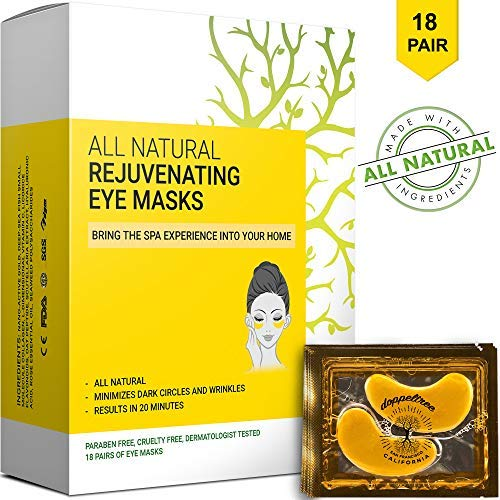 (18 Pairs) All Natural Under Eye Patches & Masks - Anti Aging Treatment for Bags, Puffiness, Wrinkles, Dark Circles - 24K Gold, Collagen, Hyaluronic Acid, Hydrogel - Designed in San Francisco (Best Peel For Under Eye Wrinkles)