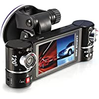GBSELL Car DVR,GBSELL New Dual Lens Car Camera Vehicle DVR Dash Cam Two Lens Video Recorder F600 Black