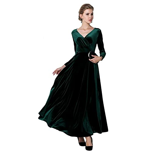Urban GoCo Women Vintage V-Neck Velvet Stretchy Long Dress