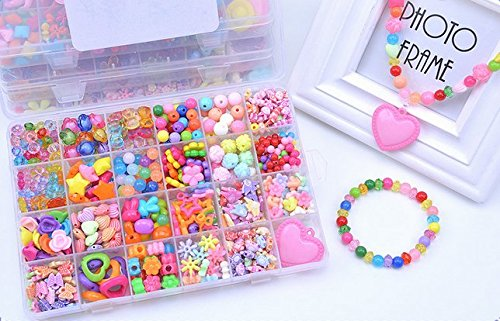 Jewelry Beads Set Accessories Toys, Magnolian Handmade DIY Crafts Arts Jewelry Making Kits for Children's DIY Bracelets Necklace, Early Childhood Inte…