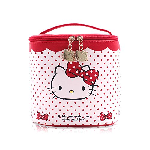 Finex Hello Kitty Red Polka Dot Bucket Cylinder Shape Cosmetic Bag with Double Hellokitty Head metal Zippers and Top Handle