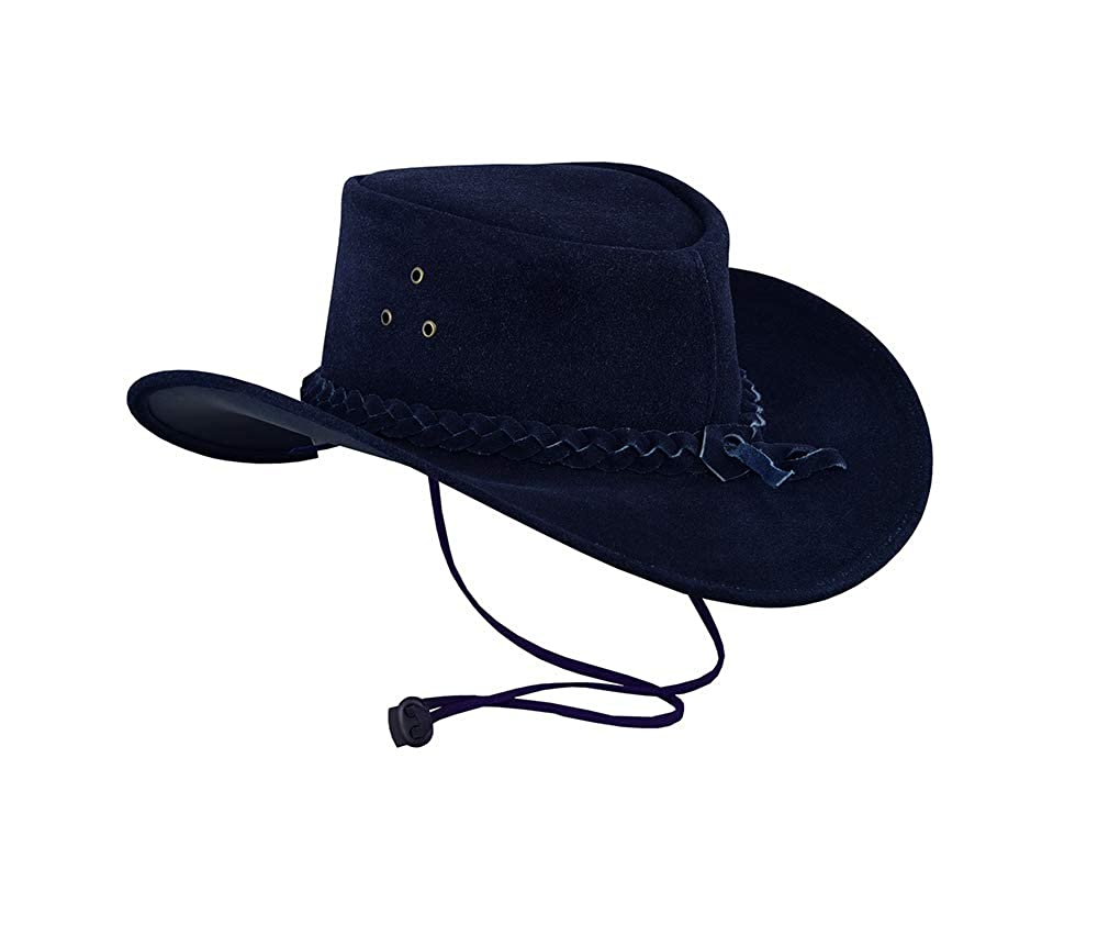Australian Western Style Cowboy Real Leather Bush Hat with Chin Strap Navy Blue