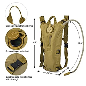 Vbiger Hydration Pack with 3L Bladder Water Bag Great for Hunting Climbing Running and Hiking (Tan, One Size)