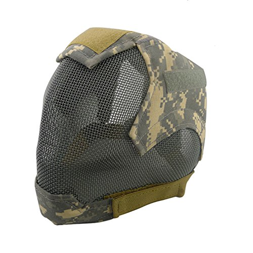 V6 Steel Net Mesh Fencing Cosplay Mask Full Cover Face Protective Tactical Military Paintball Mask (ACU) - Mask Military Paintball